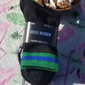 Steve Madden Fashion Crew Socks 3 Pair NWT Black